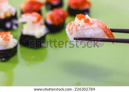 close up of sushi rolls traditional japanese food
