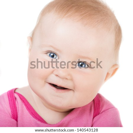 Close-up of sweet little baby face - stock photo
