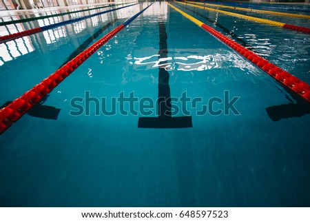 close up of swimming pool lane olympic swimming pool empty