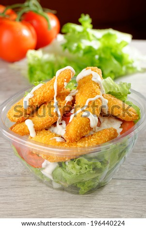 Close up of take away bowl with fast food  chicken salad  - stock photo