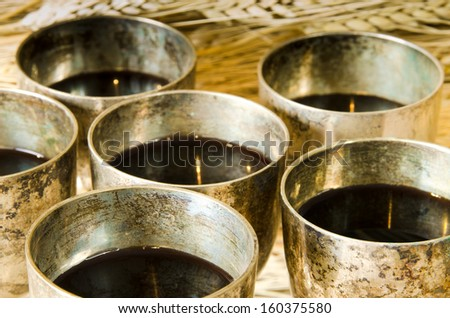 Close up of tarnished wine glasses - stock photo