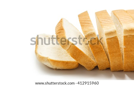 Close up of Tasty sliced bread isolated on white - stock photo