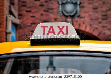 Close up of Taxi Sign, selective focus.  - stock photo