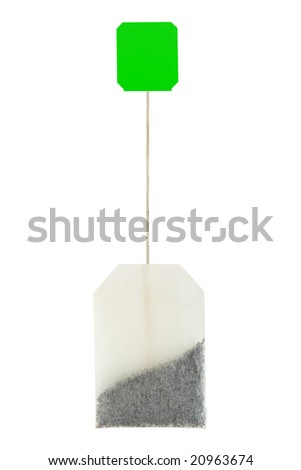 Close-up of tea bag isolated on white background - stock photo