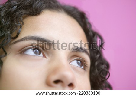 Close up of teenage girl eyes and nose - stock photo