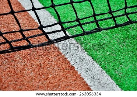 close up of tennis net - stock photo