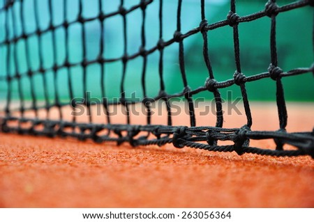 close up of tennis net - stock photo