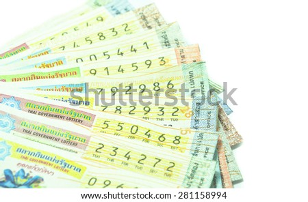 Close up of Thai lottery tickets - stock photo