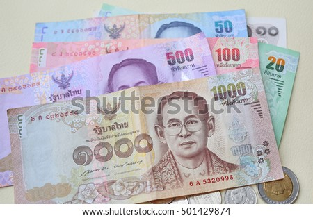 close up of Thai money background