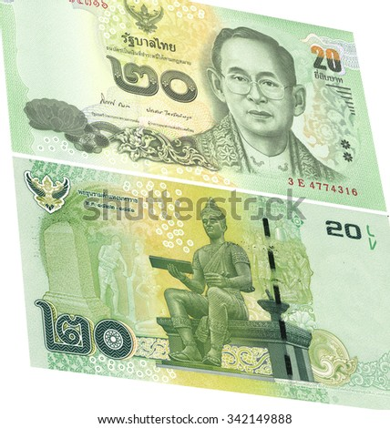 Close up of thailand currency isolated on white with Clipping Path. Denomination of 20 bahts. - stock photo