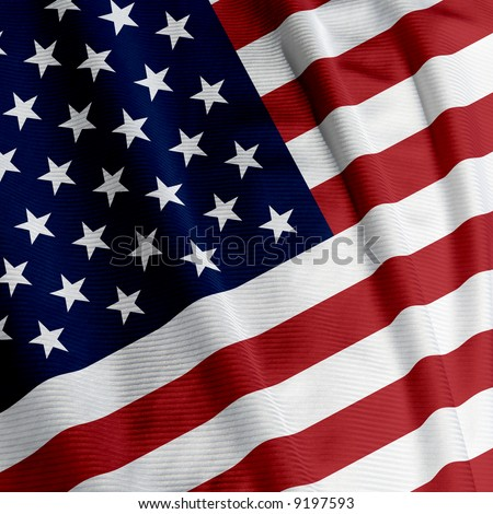 Close up of the American flag, square image