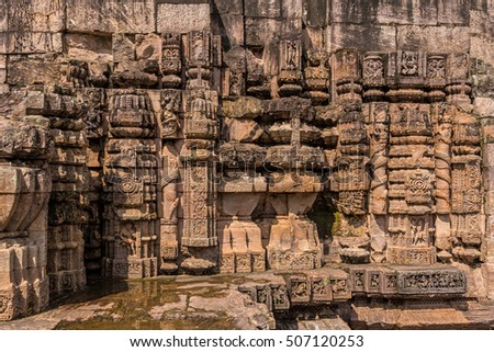 Close up of the ancient architecture carvings at the historic temple of Sun god at Konark.