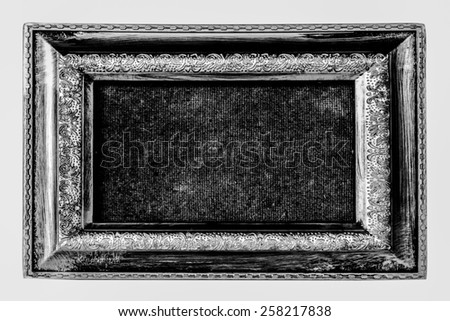 Close up of the antique silver frame with old rough paper  isolated on white background - stock photo