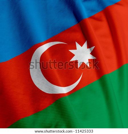 Close up of the Azerbaijani flag, square image - stock photo