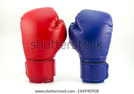 Close up of the boxing-gloves on the white background - stock photo