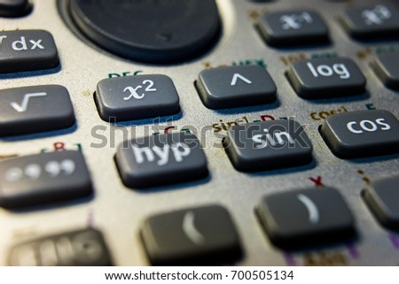 Close-up of the buttons of a sophisticated calculator