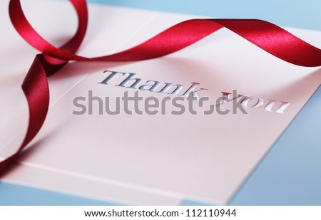 close up of the card with text Thank you - stock photo