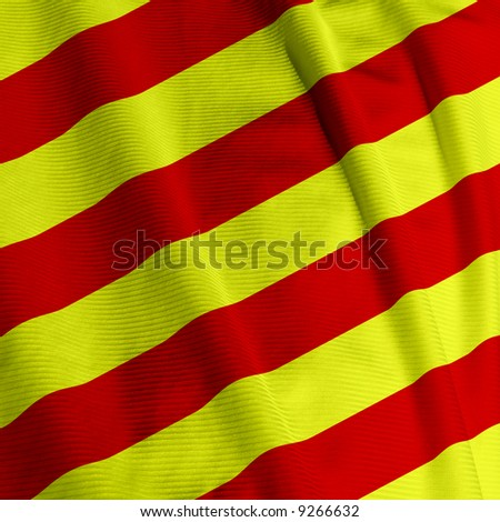 Close up of the Catalunyan flag, square image