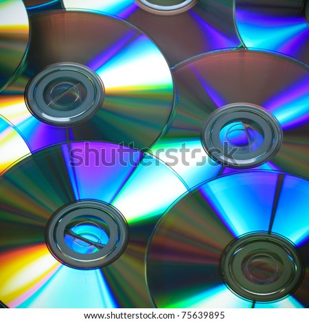 close up of the cd rainbow colors - stock photo