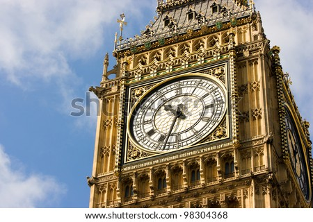 Close-up of the clock face of Big Ben, London - stock photo