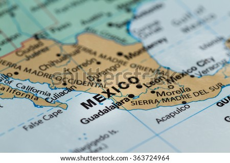 close up of the country of word Mexico on a wold map - stock photo