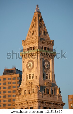 Close-up of the Custom House Tower at sunrise in Boston, MA - stock photo