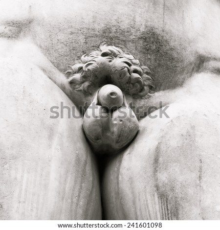 Close up of the David statue in front of the Uffizi gallery in Florence, Italy. - stock photo