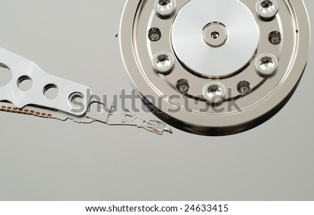 Close up of the defect in hard drive computer that produces an error