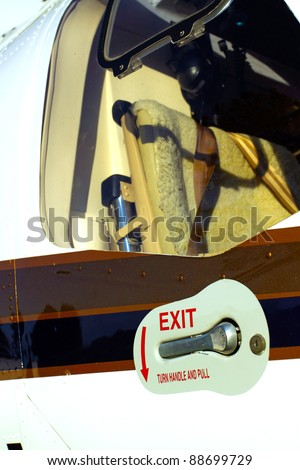 Close up of the door of a Helicopter