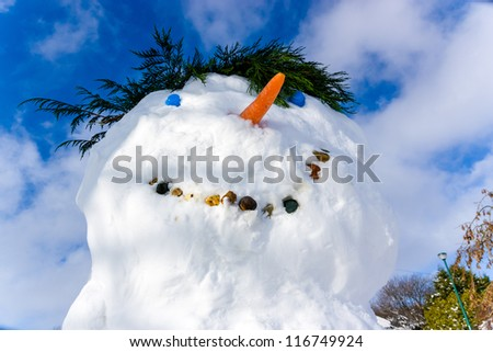 Close up of the face of a snowman against a cloudy blue sky background - stock photo