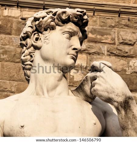 Close up of the famous David statue in Piazza della Signoria, Florence, Italy - stock photo