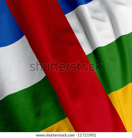 Close up of the flag of the Central African Republic, square image