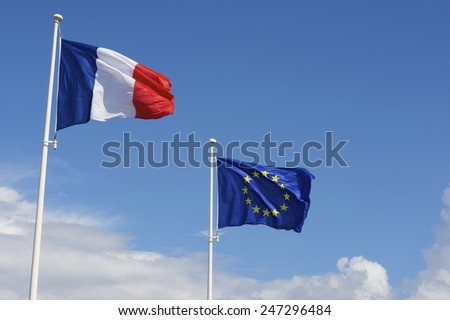 Close-up of the flags of the European Union and France. - stock photo