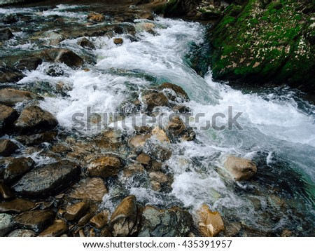 close-up of the flow of a wild mountain river