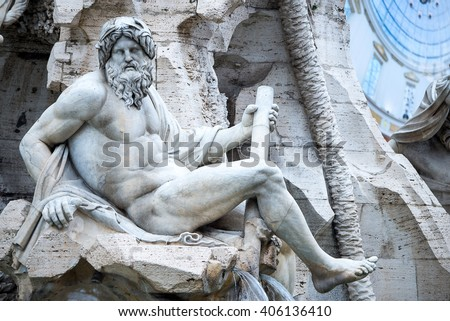 Close Up of the Fountain of Neptune, Piazza Navona, Rome, Italy - stock photo