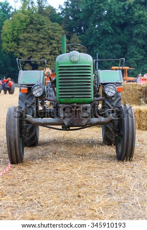 Close up of the front of an old tractor, agriculture, rural life