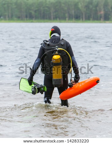 Close-up of the gear of a scuba-diver - stock photo