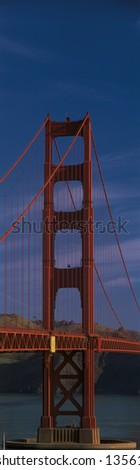 Close-up of the Golden Gate Bridge. - stock photo