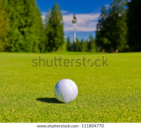 Close up of the golf ball on the ground of the course with the blurred flag behind. - stock photo