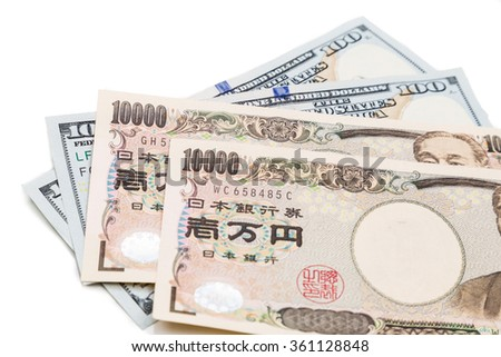 Close up of the Japanese Yen currency note against US Dollar on white background