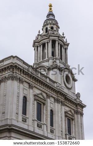 Close up of the magnificent St. Paul Cathedral in London. It sits at top of Ludgate Hill - highest point in City of London. Cathedral was built by Christopher Wren between 1675 and 1711.