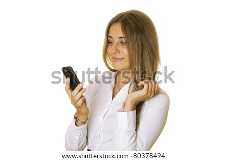 Close-up of the modern business woman with mobile phone reads the message. Isolated on a white background