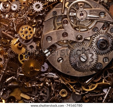 Close-up of the old gears - stock photo
