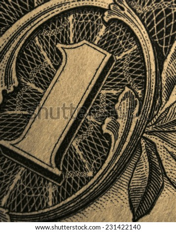 Close-up of the old one dollar US banknote - stock photo