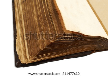 Close-up of the page from an ancient  book isolated on white background - stock photo