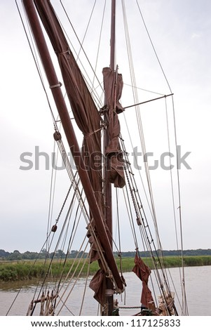 Close up of the rigging and mast of a Thames  barge