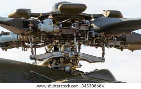 Close-up of the rotor mechanism of a helicopter - stock photo