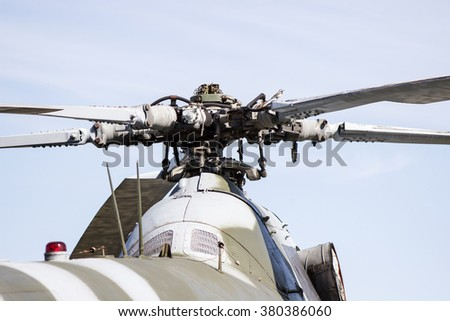 Close up of the rotor mechanism of a helicopter - stock photo