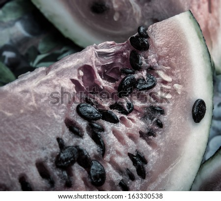 close up of the rotten watermelon - stock photo