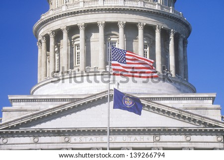 Close-up of the rotunda and the tympanum of the State Capitol of Utah, Salt Lake City - stock photo